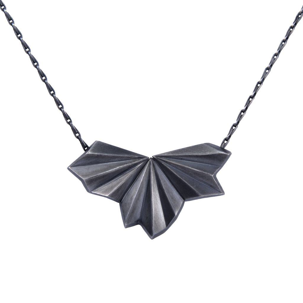 black-pleated-fan-necklace-by-alice-barnes-jewellery