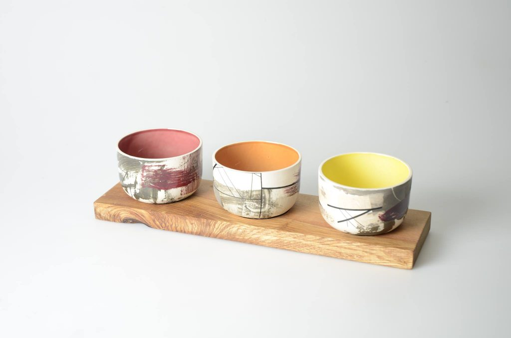 bowls on wood