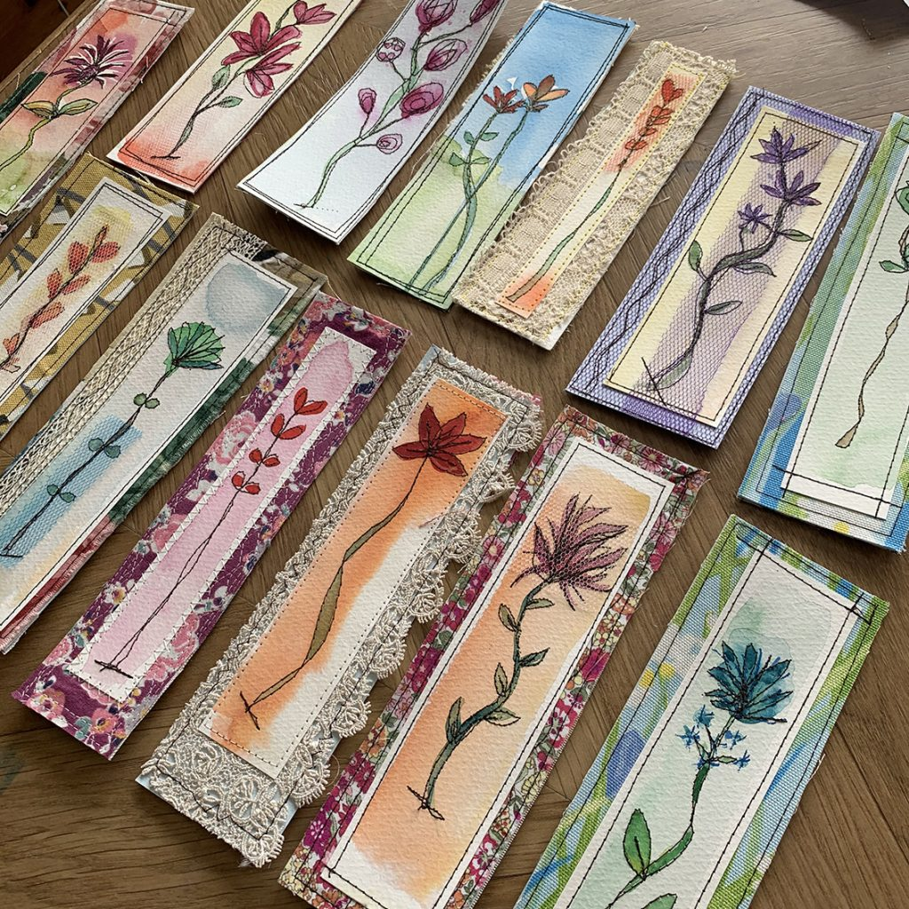 Watercolour & stitch playtime bookmarks